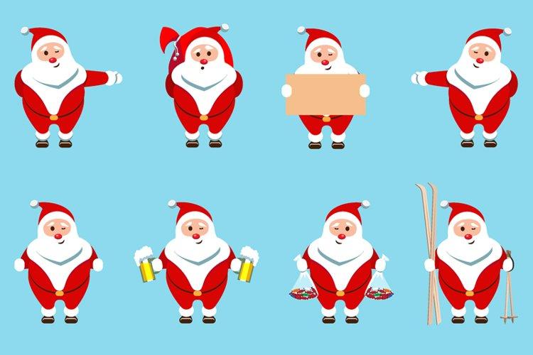 Santa Claus Christmas character set of 8 illustrations example