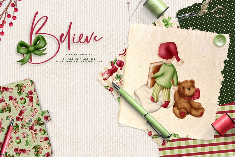 Children Christmas Clipart and Pattern seamless paper tiles. example image 1