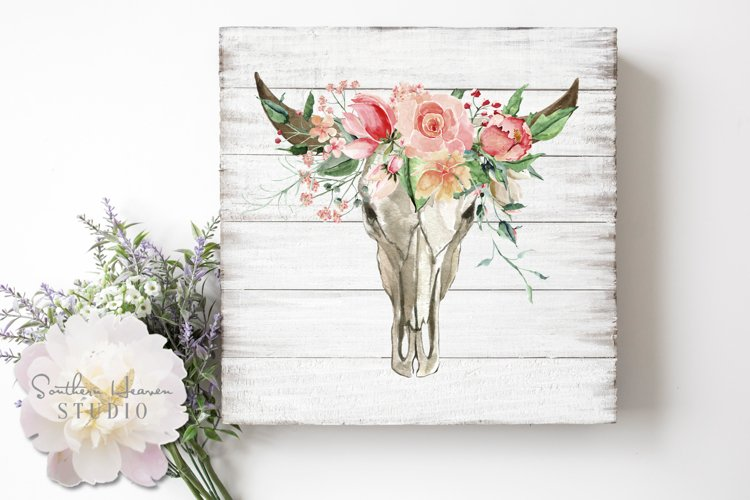 PINK ROSE FLORAL BULL SKULL - PNG example image 1