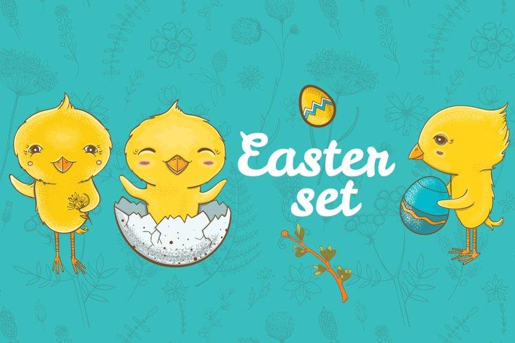 Easter cute vector set