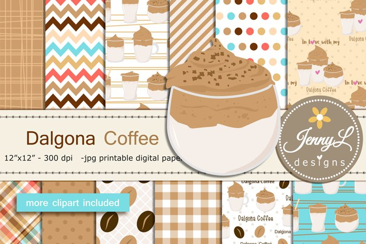Dalgona Coffee Digital Papers and Clipart example image 1