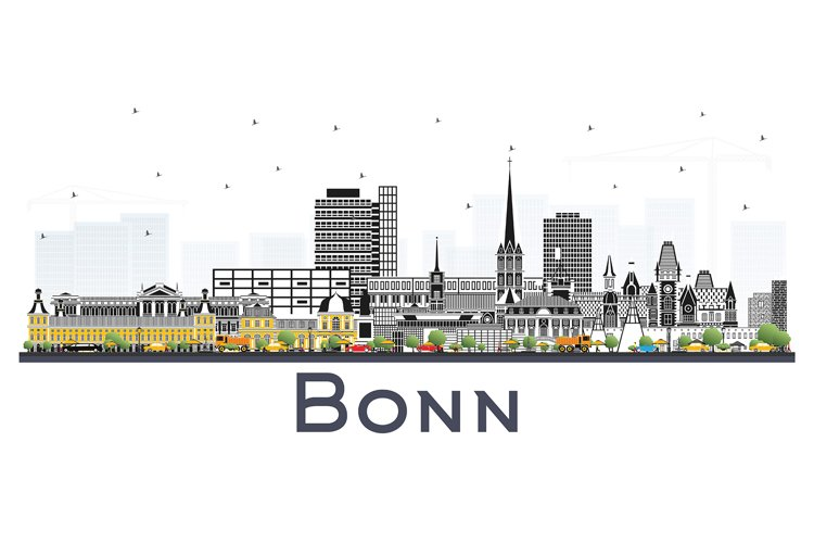 Bonn Germany City Skyline with Color Buildings Isolated example image 1