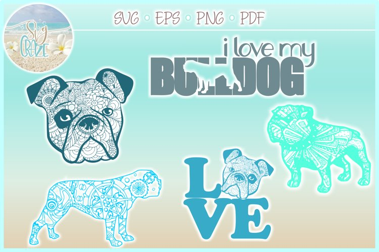 Bulldog Mandala Zentangle SVG Eps Png files for Cricut example image 1