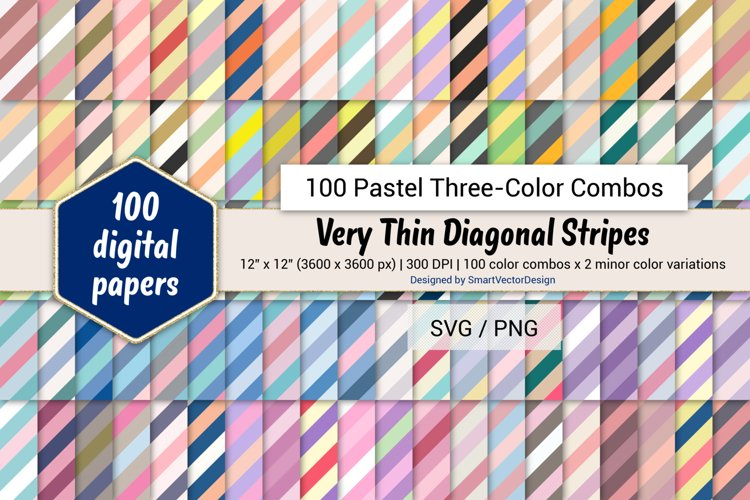 Very Thin Diag Stripes Paper - 100 Pastel Three-Color Combos example image 1