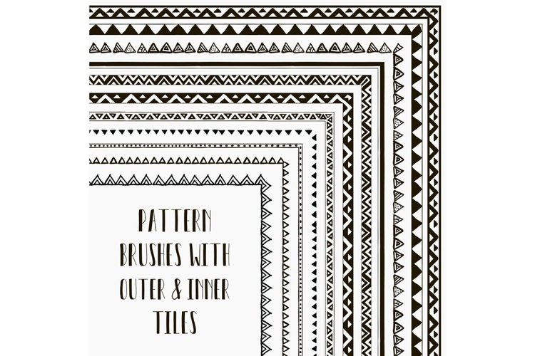 Vector Seamless Pattern Brushes - Hand-Drawn Tribal Style. example