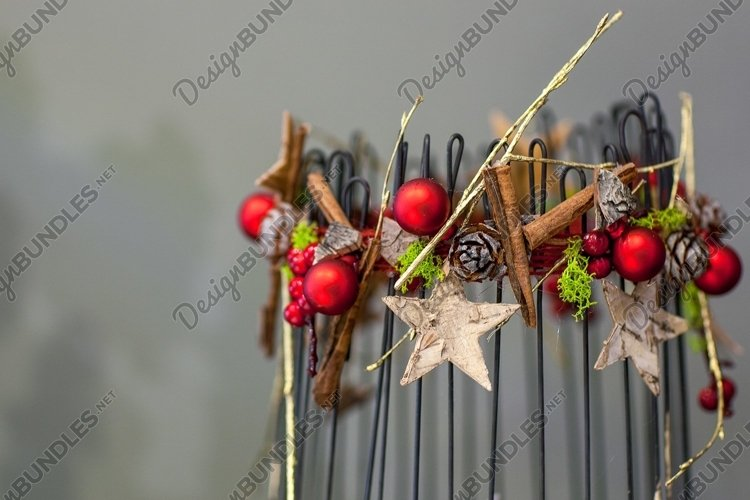 Christmas decoration with cones fir and gold stars example image 1