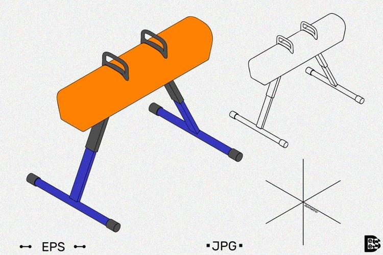Pommel horse clipart. Vector illustrations.