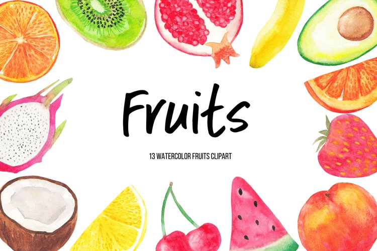 Watercolor Fruits Clipart, Watercolor Fruit Ilustrations example image 1