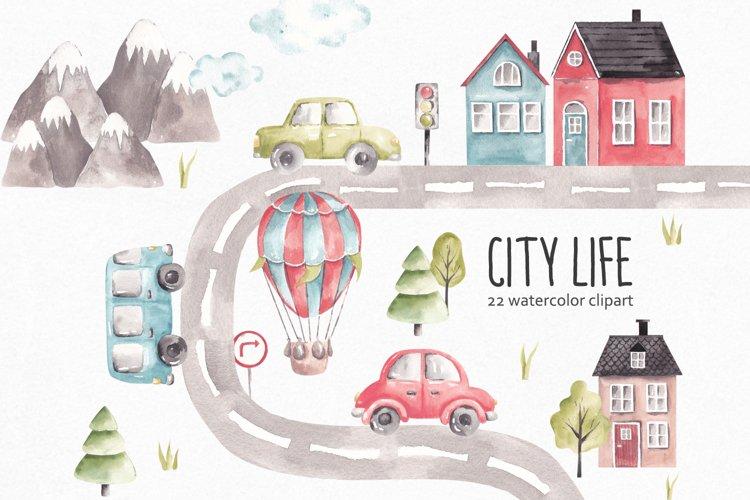 Transport Clipart, Watercolor City Life