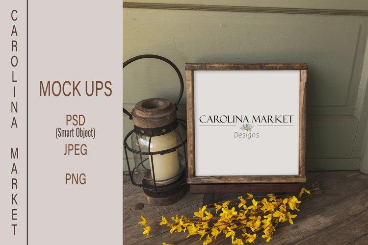 Square Wood Sign Mockup | PSD Digital Download | Flat Lay example image 1
