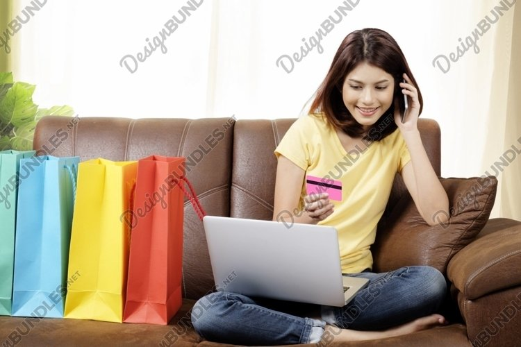 Shopping online and delivery product at home concept. example image 1