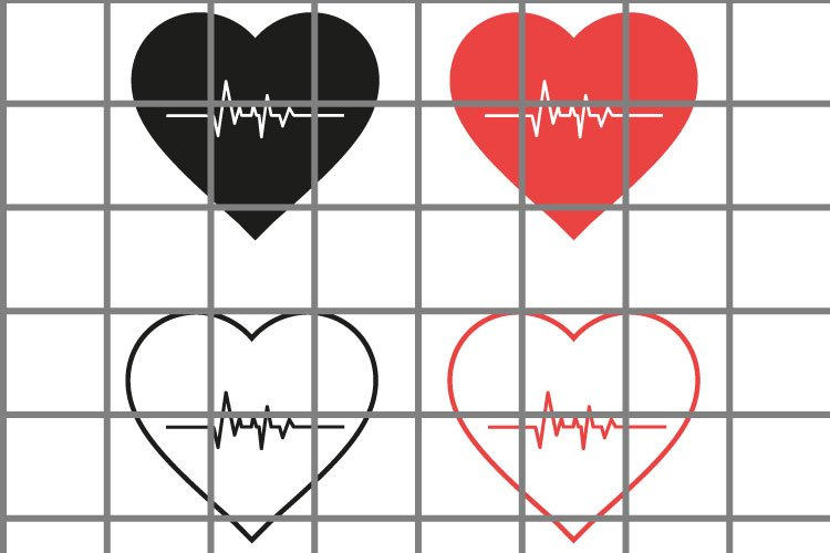 Heart or love SVG set for cut. Cardio illustration. example image 1