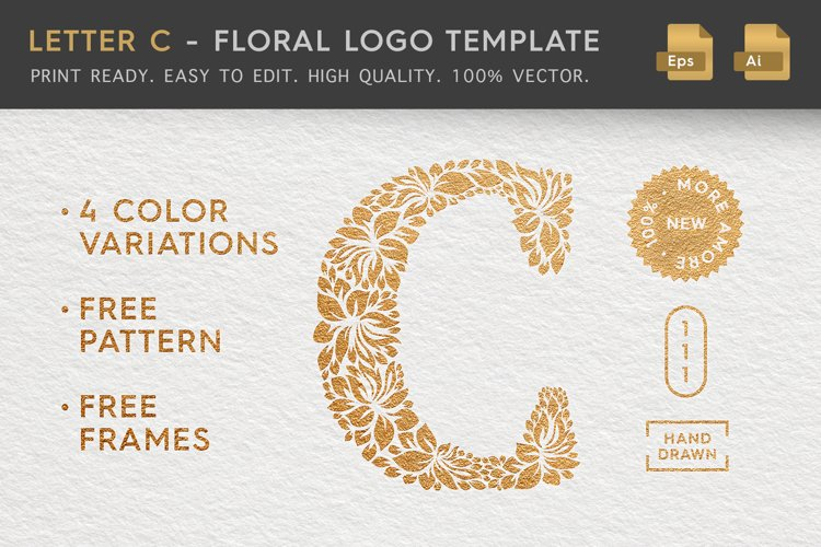 Letter C - Floral Logo Template example image 1