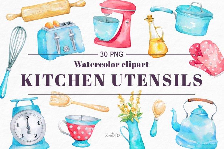 Watercolor Retro Kitchen Clipart. Kitchen Utensils. PNG