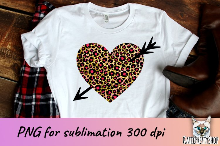 Valentine's day sublimation design, leopard heart with arrow example image 1