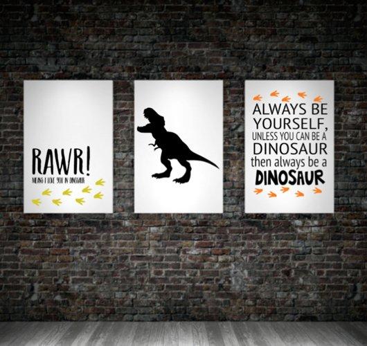 Dinosaur SET of wall art Prints Printable Dinosaur themed bedroom print Boys bedroom baby boy dinosaur nursery dinosaur quote home decor example image 1