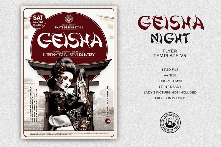 Geisha Night Flyer Template V5 example image 1