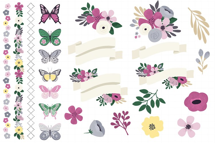 Butterfly Spring Floral Digital Paper Clipart Bundle example 1