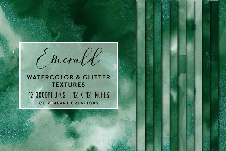 Green Glitter Watercolor Digital Papers example image 1
