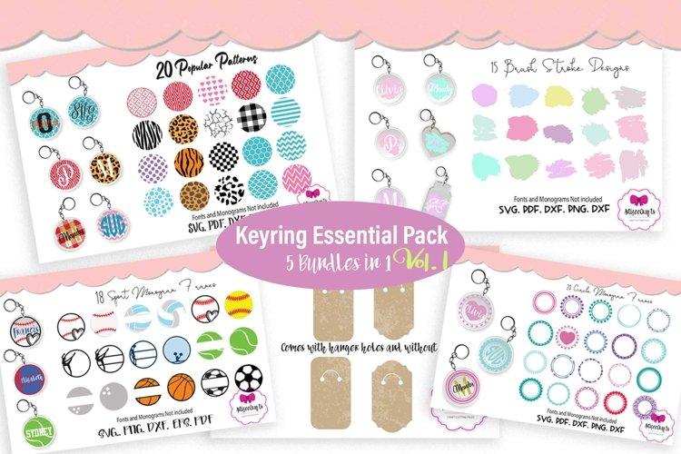 Keyring Circle Monogram Frame Bundle, Circular Pattern Pack