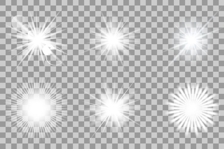 Vector white light effects. Flash.