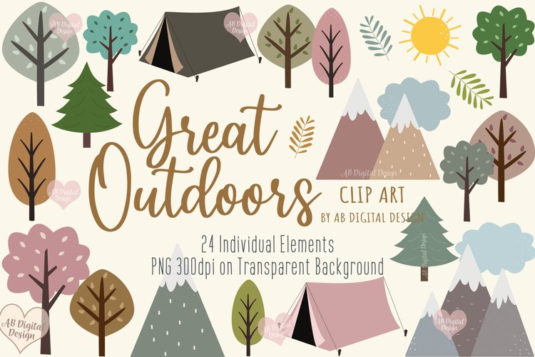 Trees, Camping Clipart, Outdoor Adventure, Kids Camping, PNG
