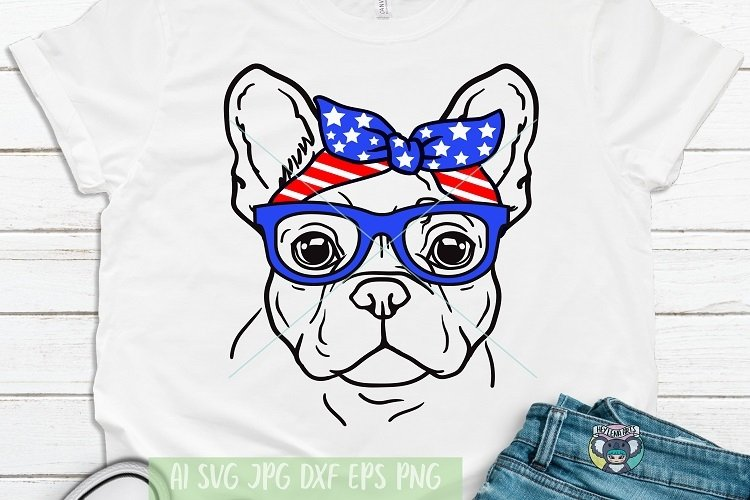 4th of July svg, French Bulldog svg, Files for Cricut example image 1