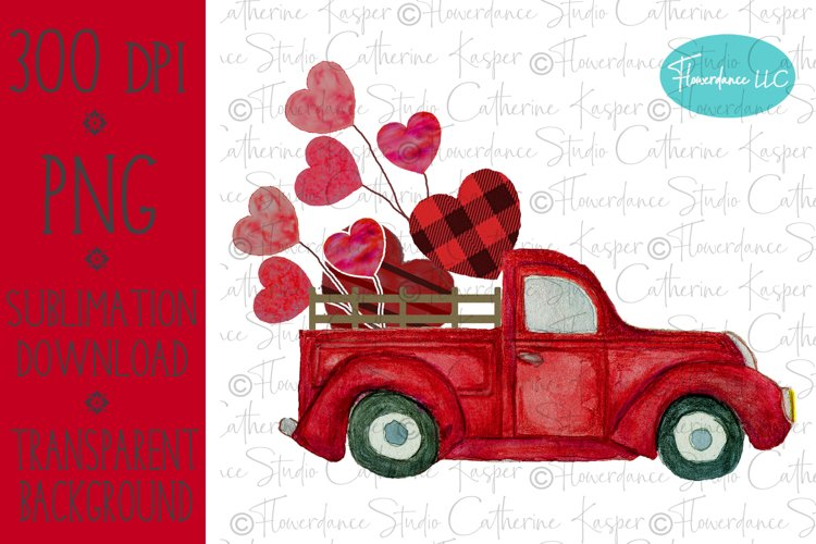 Valentines Day, Vintage Truck, Red Buffalo Plaid, Watercolor example image 1
