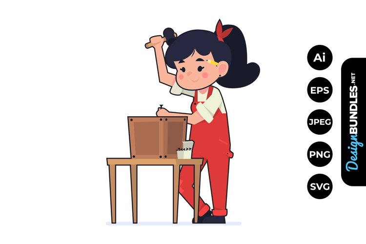 Girl Woodworking Clipart example image 1