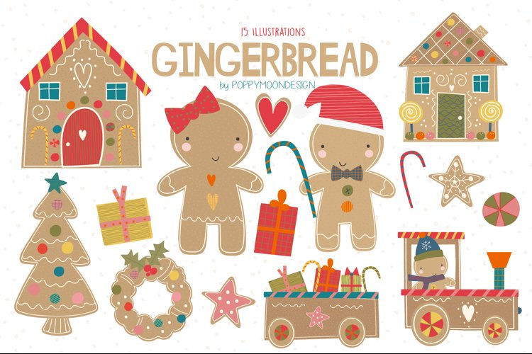 Gingerbread clipart and paper set