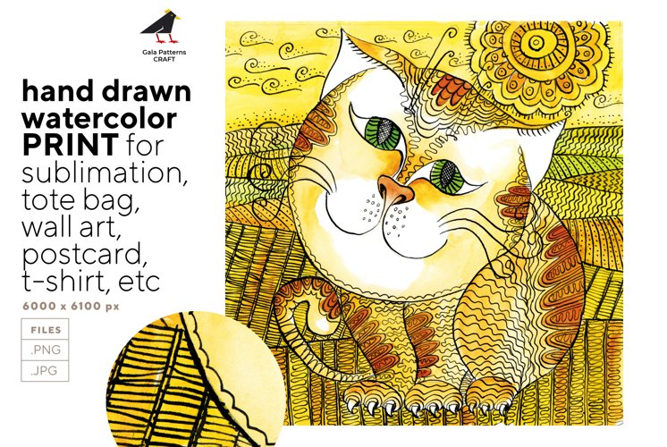 Cute hand drawn watercolor farmhouse cat portrait, print JPG