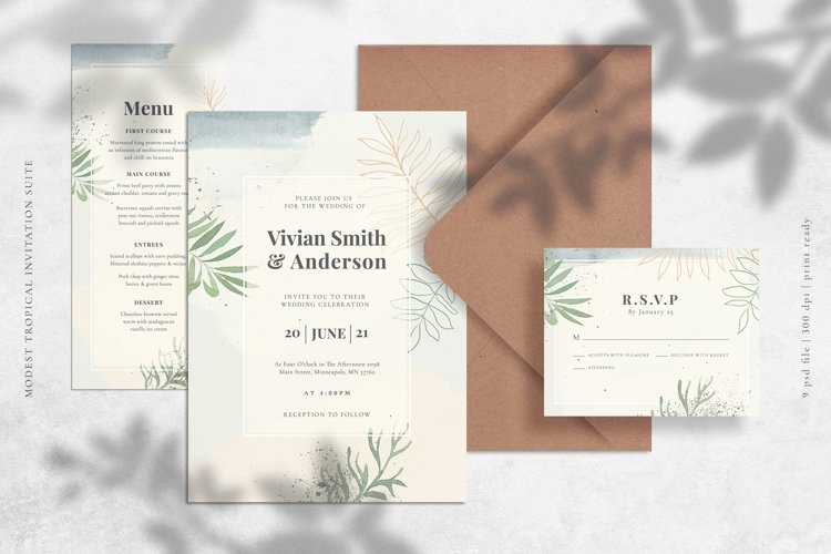 Modest Tropical Invitation Suite example image 1