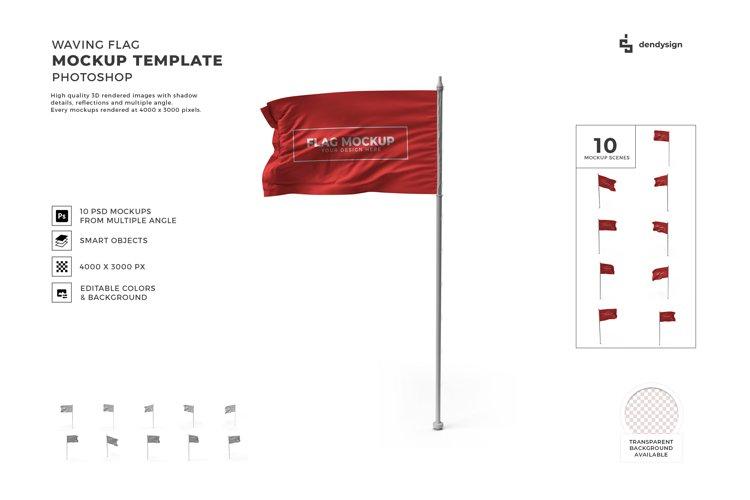 Waving Flag Mockup Template Bundle