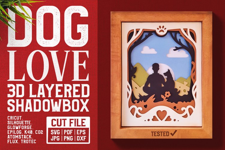 Dog Love 3D Shadow Box SVG Cut File example image 1