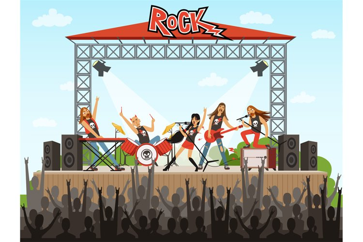Rock band on stage. People on concert. Music performance. Ve example image 1