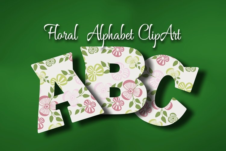 Floral Alphabet ClipArt example image 1