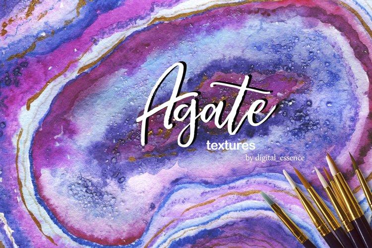 Agate 2 watercolor backgrounds. Unique gemstones textures.