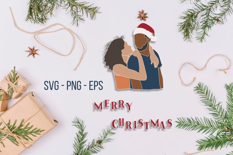 Merry Christmas SVG, couple svg, Christmas sublimation example image 1