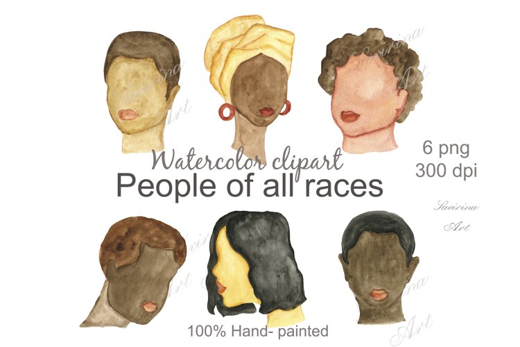 Watercolor clipart Abstract, female and male, people.