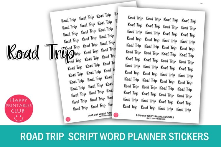 Road Trip Script Words Planner Stickers- Road Trip Stickers example image 1