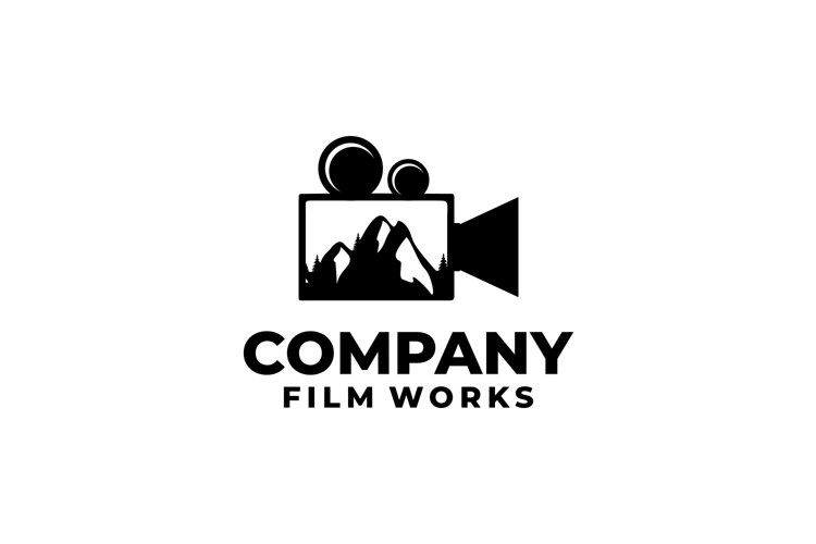 Camera film movie production logo with mountain design