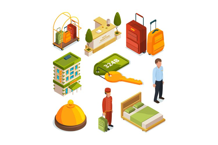 Icons set of hotel services. Isometric illustrations of rece example image 1