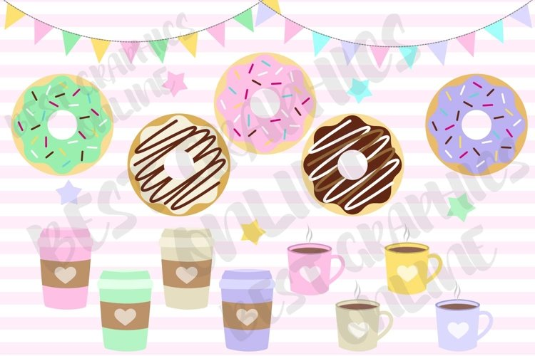 Donuts and coffee clipart set, Coffee lover clipart