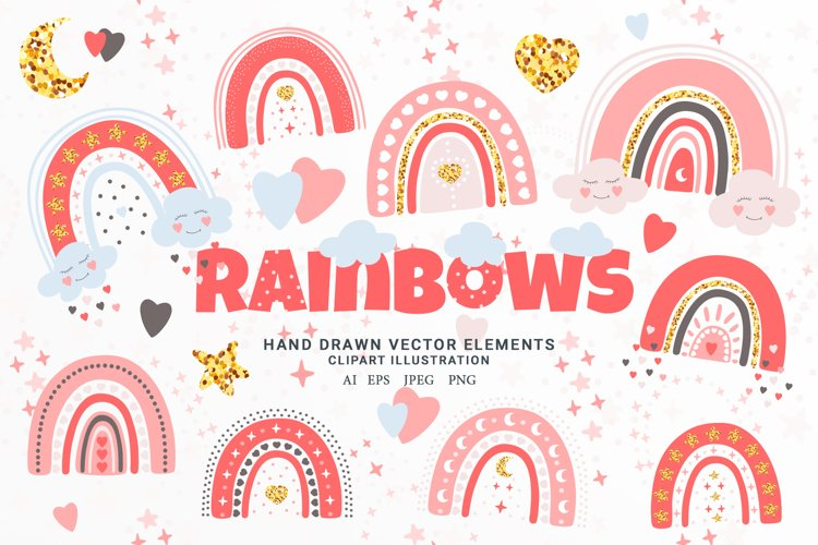 Hand Drawn Rainbows Vector Illustration. Boho Clipart Set