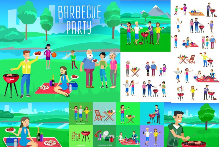 Family picnic, bbq party set example image 1