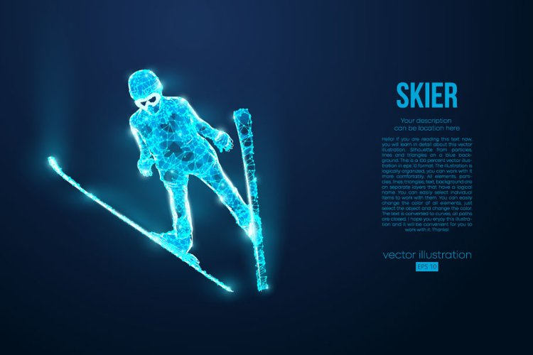 Silhouettes of a skier, AI, EPS, PNG example image 1