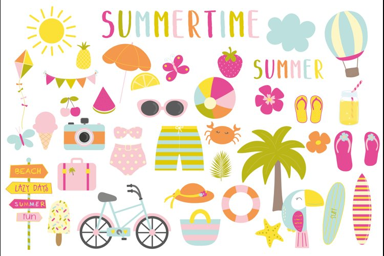Summertime set, clipart and papers example image 1