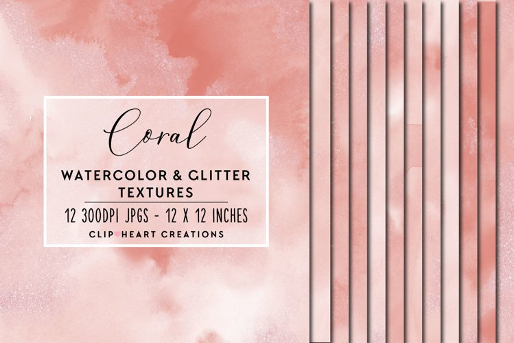 Coral Glitter Watercolor Digital Papers example image 1