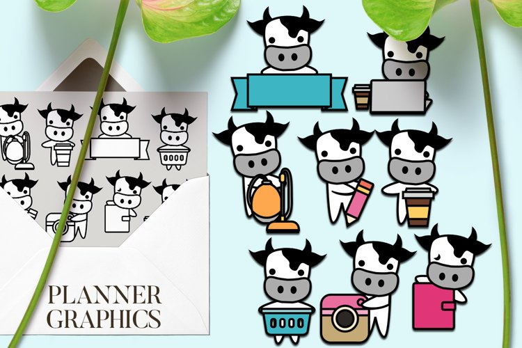 Planner cow clipart / chores routine activity