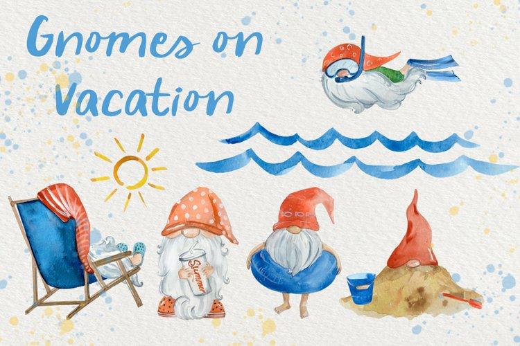Gnomes on Vacation Watercolor Clip Art Set